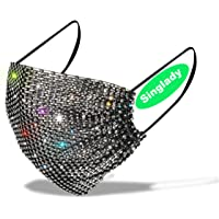 MeeShirer Bling Sparkly Rhinestone Mesh Mask Crystal Masquerade Ball Party Masks Reusable Women Jewelry (Black)