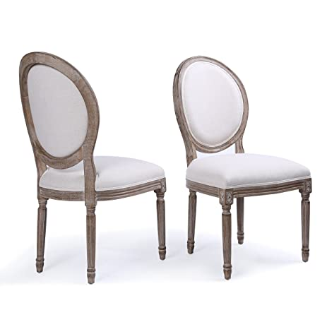 Wonderful Belleze Set Of (2) Classic Elegant Traditional Upholstered Linen Round Back  Dining Chairs W