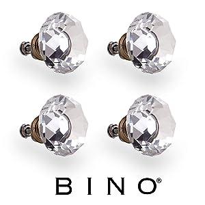 "BINO 4-Pack Crystal Drawer Knobs - 1.5"" Diameter (38mm), Bronze - Dresser Knobs for Dresser Drawers Crystal Knobs and Pulls Handles"