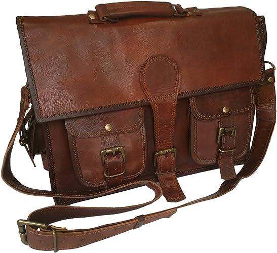Fait main homme cuir véritable Vintage portable Messenger Mallette Sac Cartable