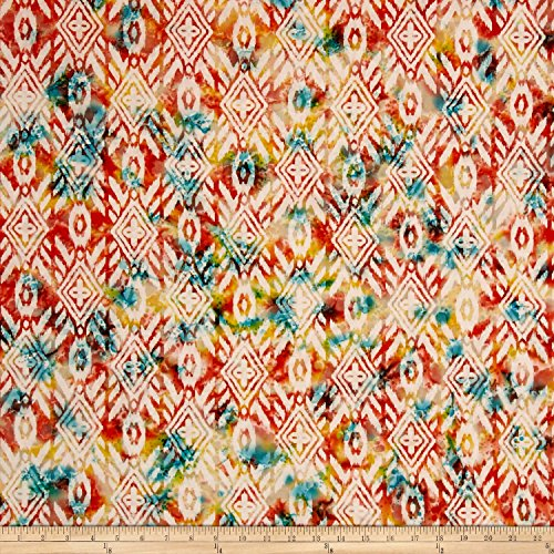 Textile Creations Indian Batik Large Ikat Coral/Teal Fabric By The -