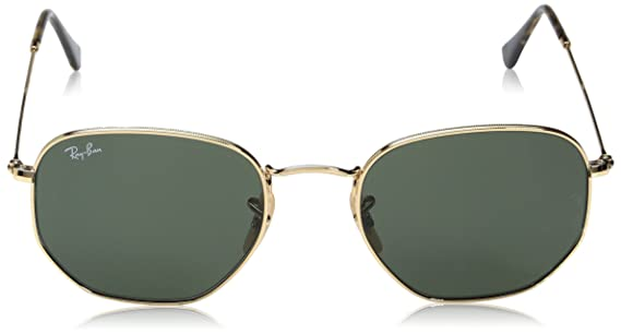 87d25d7b82 Ray-Ban Hexagonal Flat Lens Sunglasses in Gold Green RB3548N 001 54