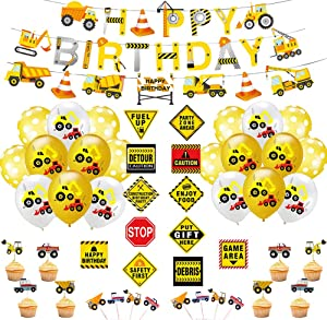 Construction Birthday Party Supplies for Kids Construction Theme Birthday Party Boys Construction Theme Birthday Party Favors Supplies Tractor Banner Balloons Cupcake Toppers Excavators Bulldozers Dump Trucks Cement Trucks Party Decorations Kits Set for Boys Kids