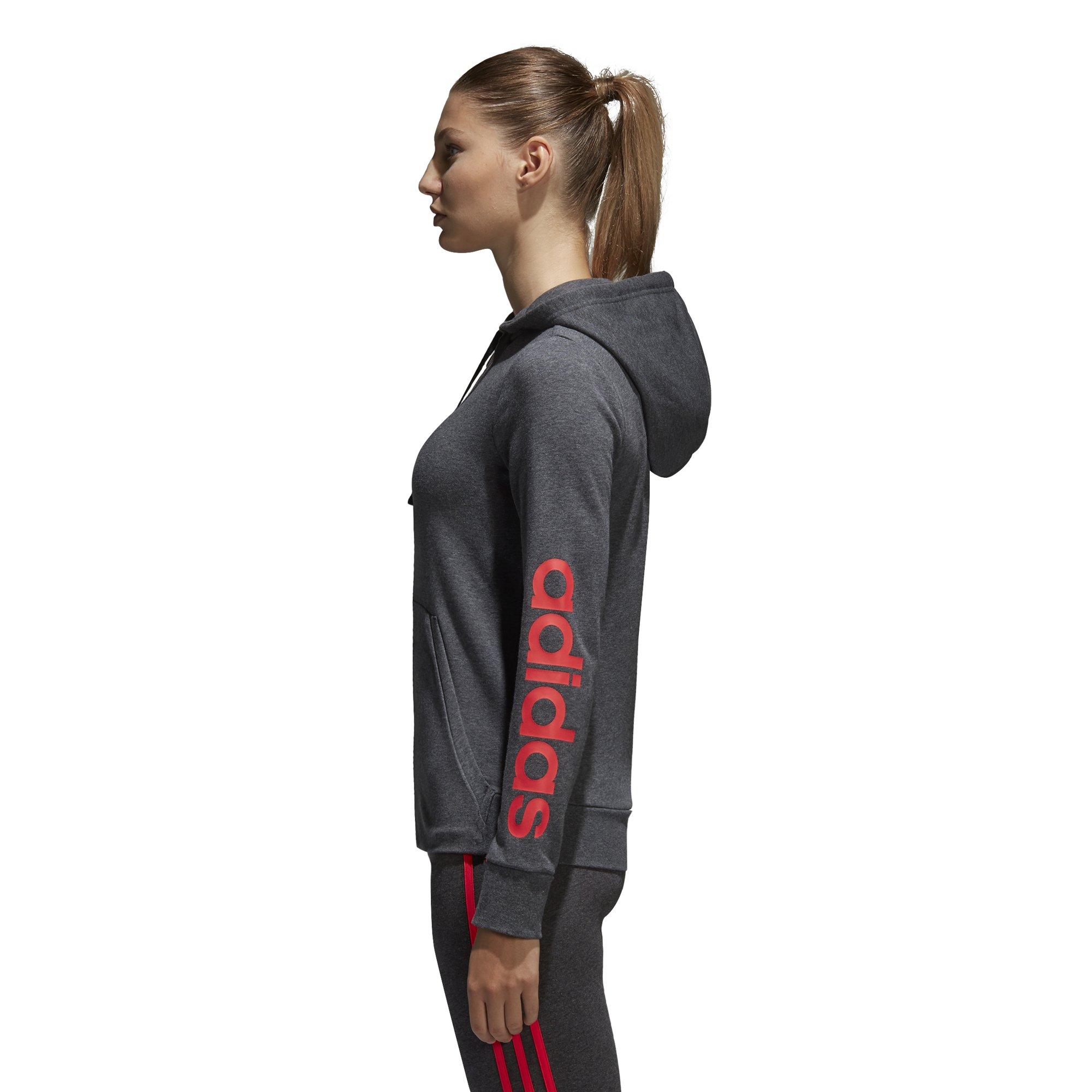 adidas Women's Essentials Linear Full Zip Fleece Hoodie, Dark Grey Heather/Real Coral, X-Small by adidas (Image #3)