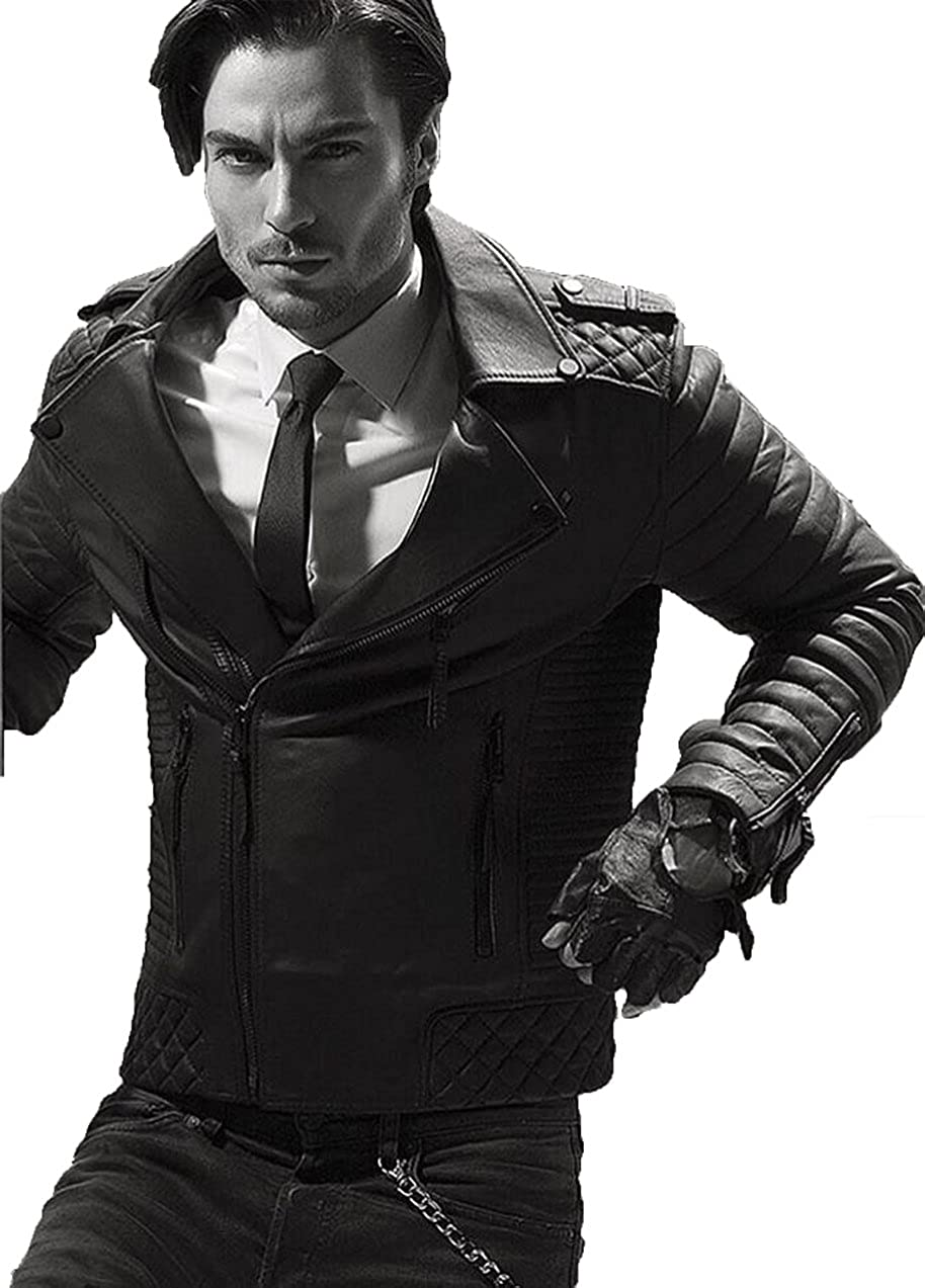 New Men Designer Genuine Lambskin Soft Biker Leather Jacket T1005