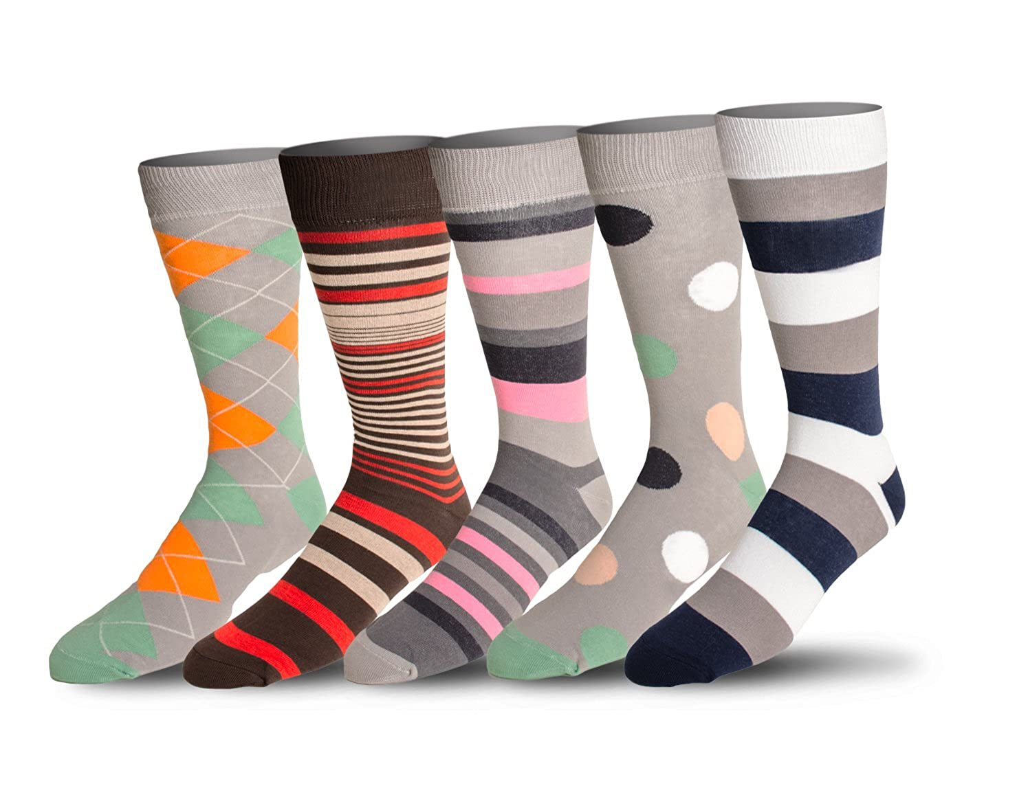 Mens 5 Pack Crew / Dress Socks – Versatile For Any Occasion By VYBE Size (9-13) Combo 10)