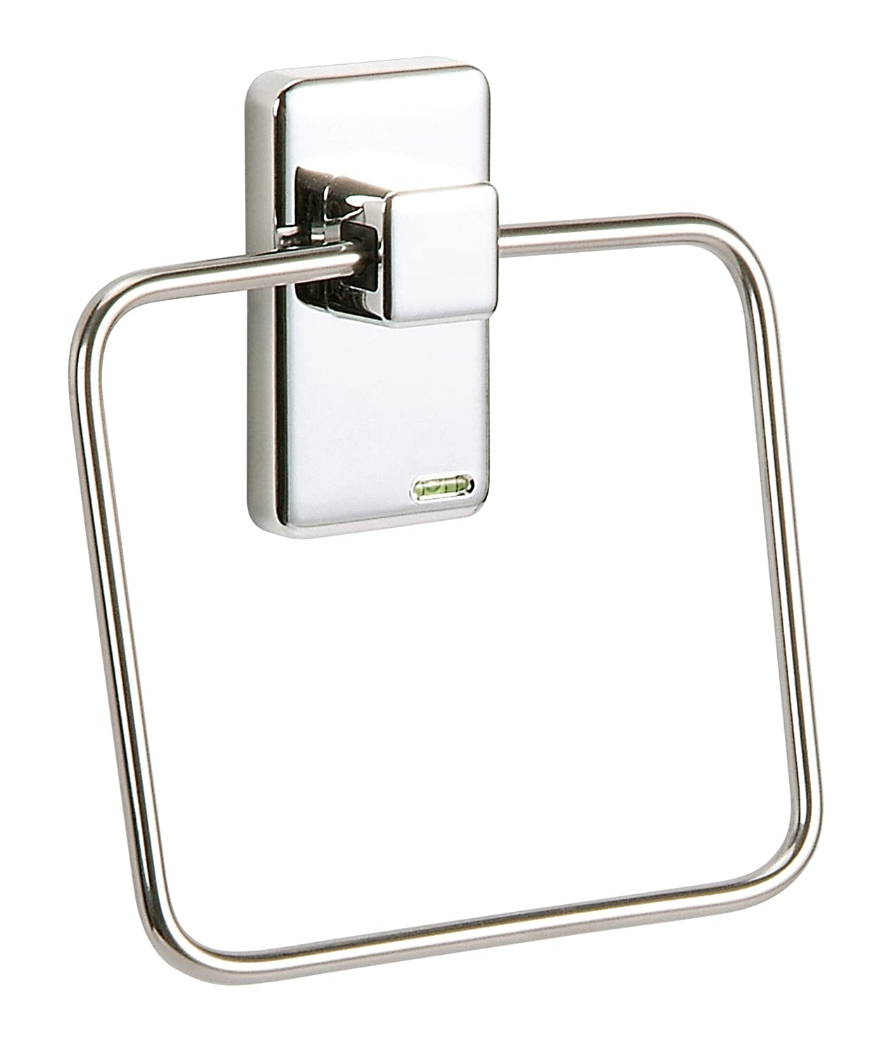 Chrome Square Towel Ring Holder Hanger 14cm - Wall Mounted 3M-Adhasive Backing Ideal Bath