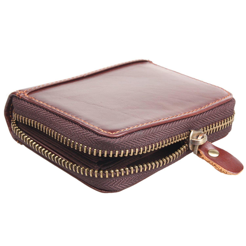 Texbo Genuine WaxyレザークレジットIDカードケース財布ファスナーポケット付き   B06XG5P7RZ