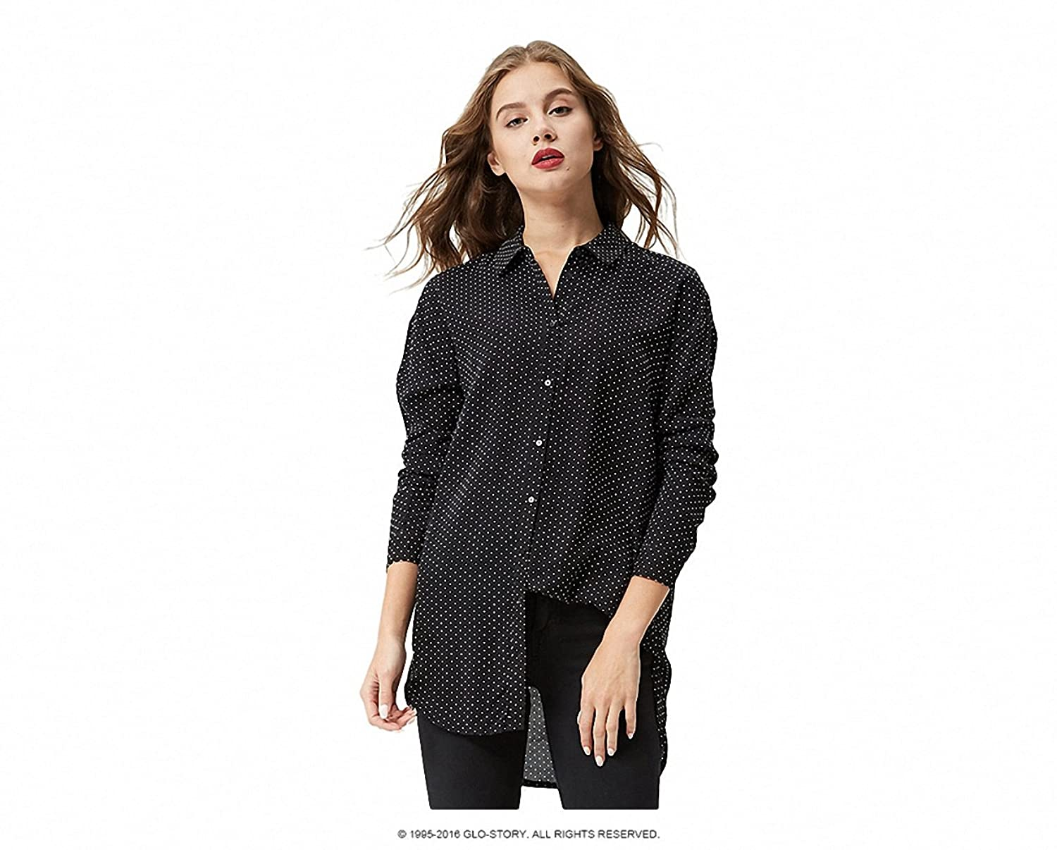 Women Polka Dot Printed Long Sleeve blouse casual shirts Loose cotton tops blusas WCS-3664 at Amazon Womens Clothing store: