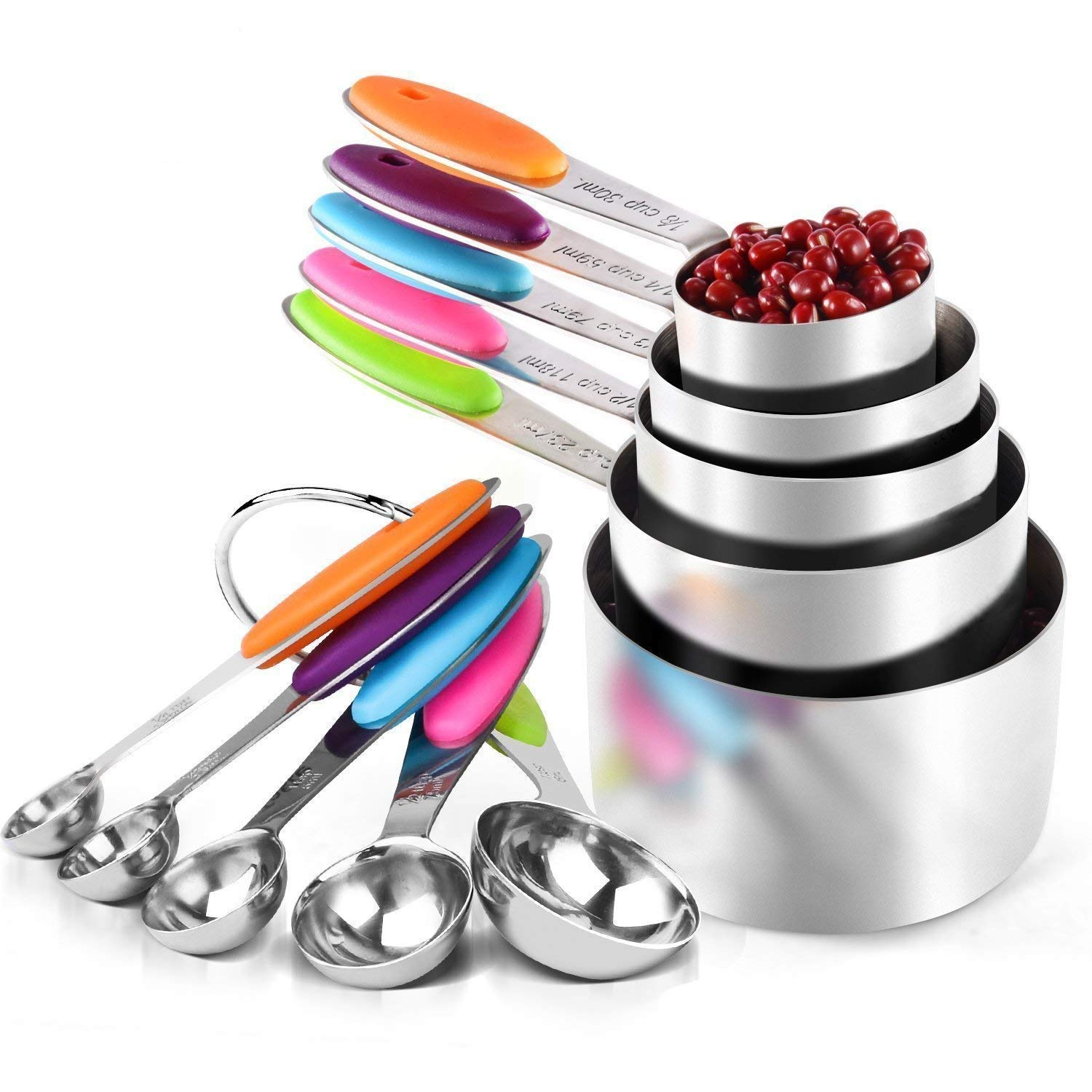 Bemarten Measuring Cups and Spoons Set, Multicolored Silicone Handles for Measuring Dry and Liquid Ingredients Perfect for Baking, Durable 304 Stainless Steel 5 Measuring Cups and 5 Measuring Spoons with 2 O Rings