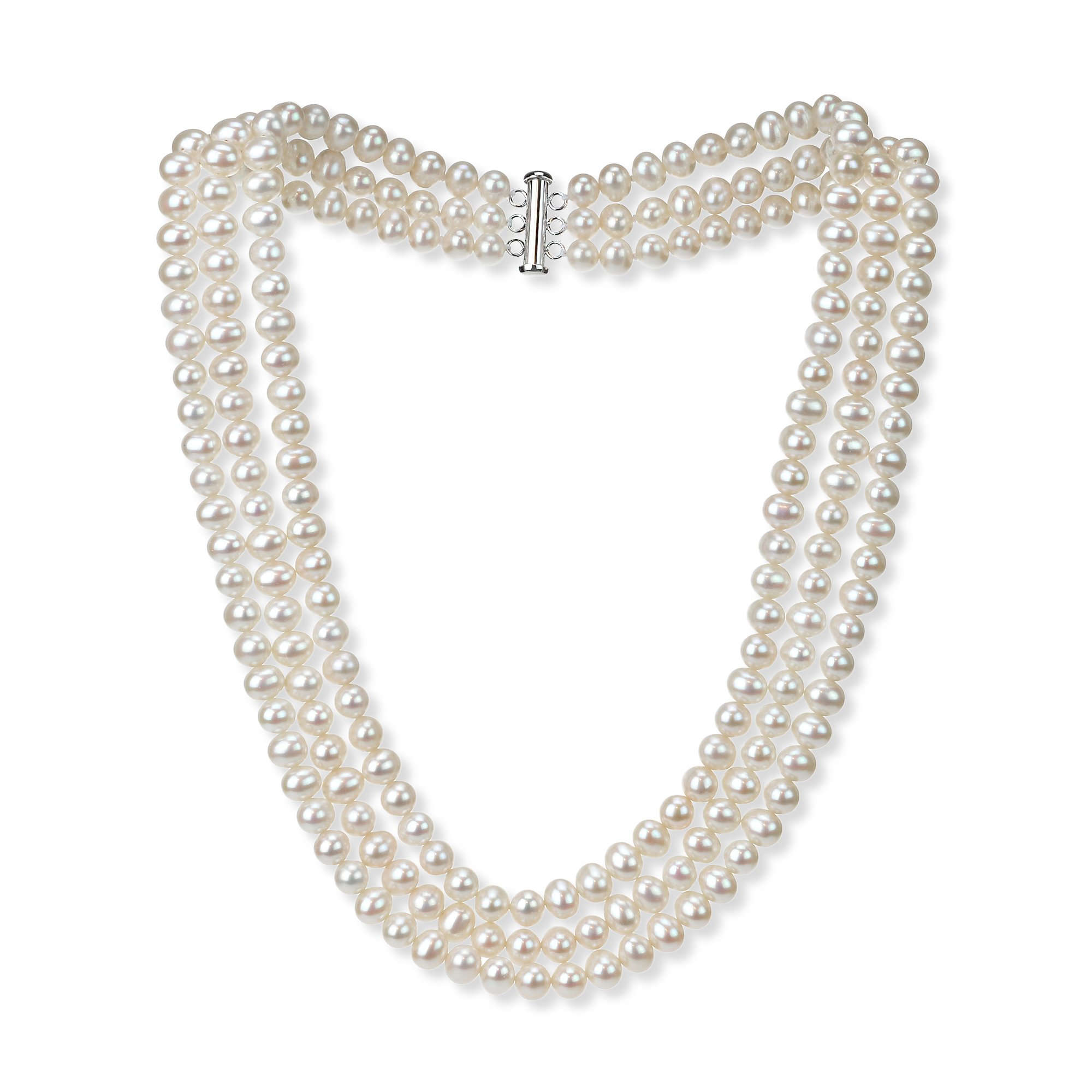 Sterling Silver 6.5-7mm 3-rows White Freshwater Cultured High Luster Pearl Necklace, 18''