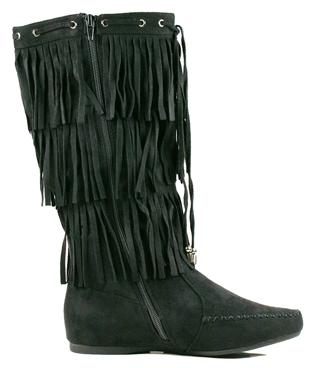 253f56973 Amazon.com | Own Shoe Womens Fringe Boots Faux Suede Moccasin Mid Calf Flat  New Size 3 Tier Layer | Loafers & Slip-Ons