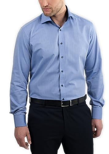 ETERNA Herren Langarm Hemd Slim Fit Classic Kent blau / mittelblau mit Patch 8506.17.F140