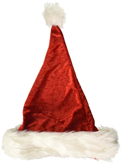 0fce178a3d6fc Amazon.com  Forum Plush Faux Velvet Holiday Santa Hat w White Faux Fur  Trim