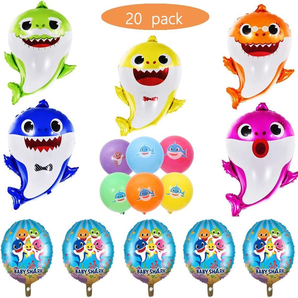 """Shark Helium Balloons,20 PCS Shark Family Balloons for Party Decorations,Sea Baby Themed Birthday Decorations Baby Shower Party Supplies,26"""" Shark Family foil Balloons,17"""" Round foil Balloons"""
