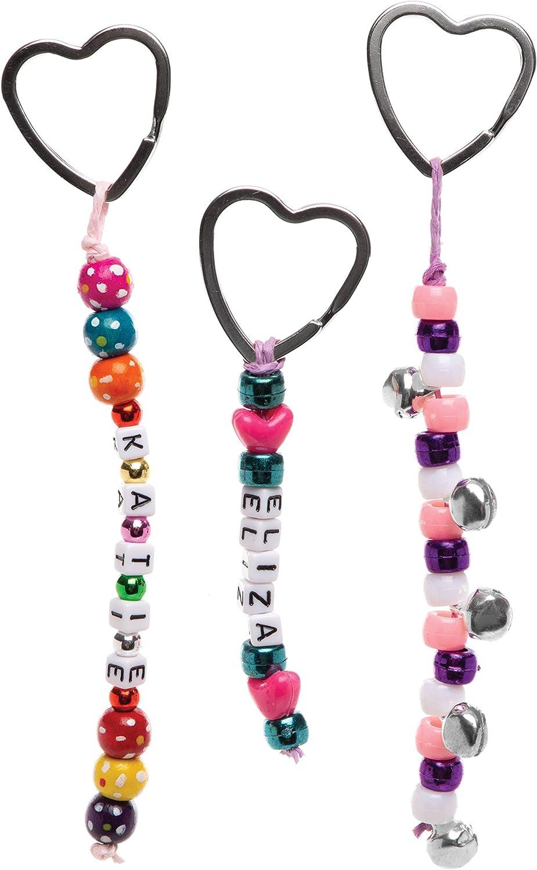 Pack of 20 Baker Ross Heart Shaped Split Ring Metal Key Split Rings Perfect for Attaching to Key Chains