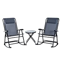 Outsunny Outdoor Rocking Chair Patio Table Seating Set Folding