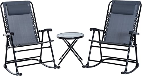 Outsunny 3 Piece Outdoor Rocking Bistro Set
