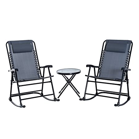 Outsunny 3 Piece Folding Rocking Chair Patio Dining Table Set- Grey