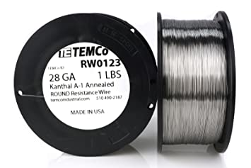 TEMCo Kanthal A1 wire 28 Gauge 1 lb (2609 ft) Resistance AWG A-1 ...