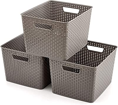 Yawinhe 3 PCS Cajas de almacenaje Libros Organizador para Juguetes Marr/ón, 38x25x25cm Cajas de Almacenamiento Plegables Ropa Cajas de Almacenaje con Tapa