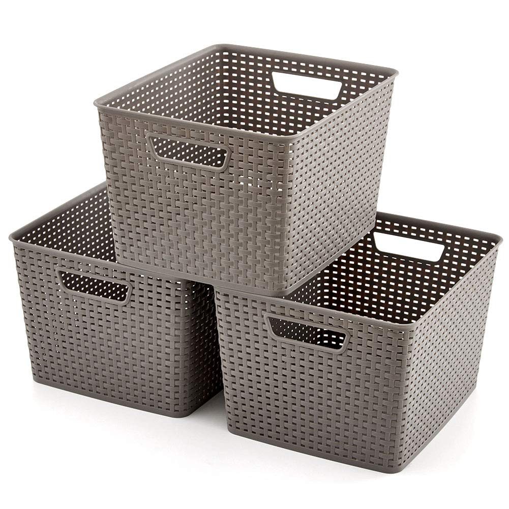 EZOWare Large Gray Plastic Knit Shelf Storage Organizer Baskets Bins Perfect for Storing Household Items, Laundry - Pack of 3 by EZOWare