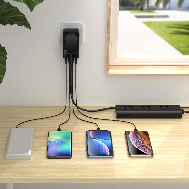 Laptops USB Ladeger/ät Mehrfach 4 Anschl/üsse 30 W, 6 A Technologie f/ür Haushaltsger/äte Steckdosenadapter mit AiPower USB-Netzteil iPad Pro Air Mini Tablet iPhone X XR XS XS Max 8 7 6 Plus