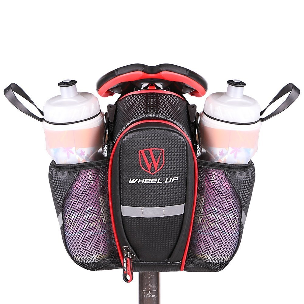 Idea Bike Saddle Bag, Mountain Road MTB Bicycle Cycling Polyester Saddle Bag with 2 Pockets for Water Bottles, Bike Back Seat Rear Bag Repair Tools Pocket Pack