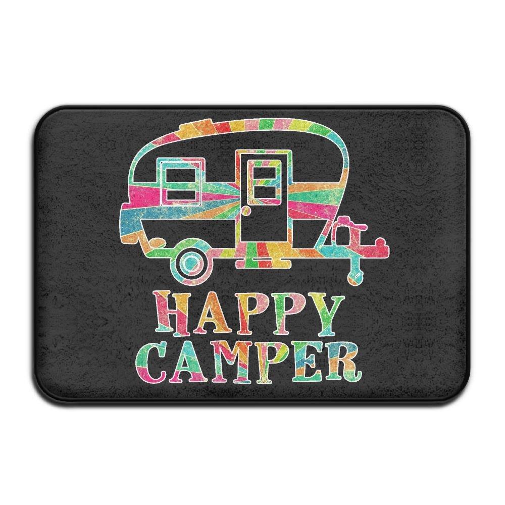 Soft Non-Slip Colorful Happy Camper Bath Mat Coral Fleece Area Rug Door Mat Entrance Rug Floor Mats Cowbisi