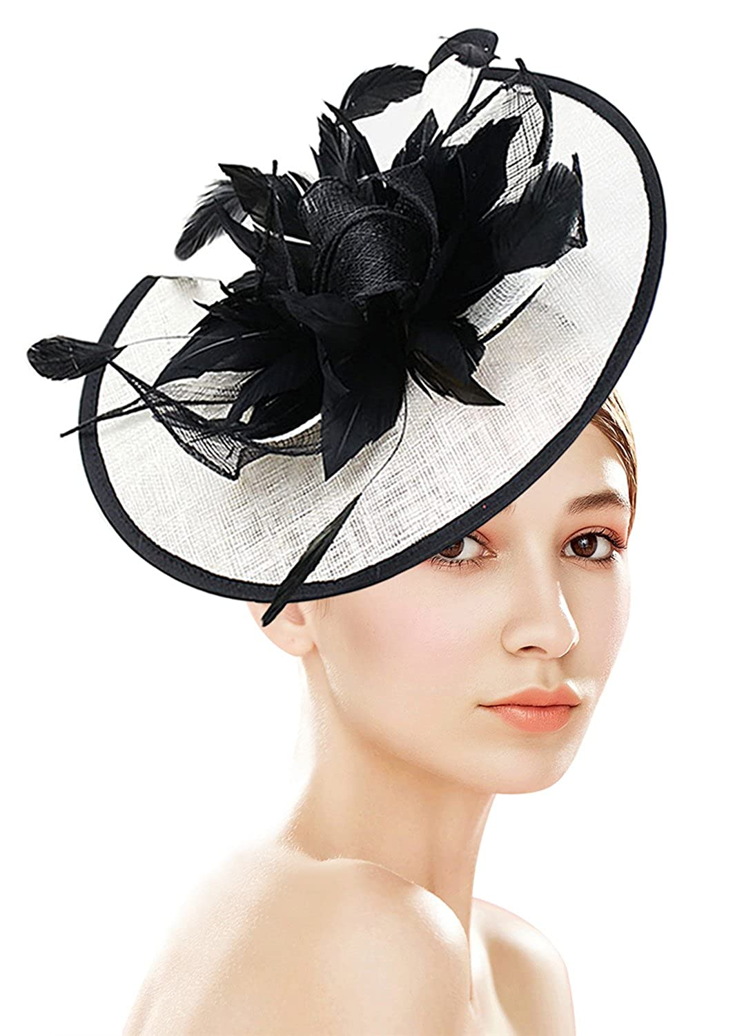 57e5cfd90 Z&X Sinamay Fascinator Hat with Headband Hair Clip for Cocktail Derby Party  Royal Ascot