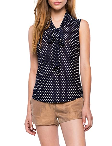 ASMAX Haoduoyi Womens Brief Front Tie Bow Dots Sleeveless Chiffon Blouses Shirts at Amazon Womens Clothing store:
