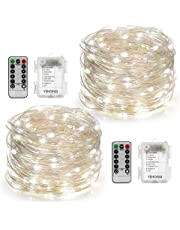 2 Set String Lights Battery Operated Fairy Lights with Remote Timer Twinkle Starry String Lights 8 Modes 5M 50 LED Moon Lights Firefly Lights for Easter Garden Wedding Party Bedroom Decoration-White