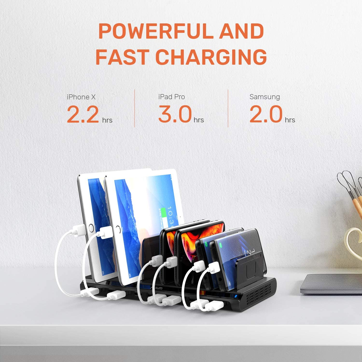 Compatible with iPhone 10-Port USB Charging Station Samsung Galaxy Alxum iPad Charging Station for Multiple Device with Adjustable Dividers Black Google Pixel LG stylo Kindle iPad Air//Mini