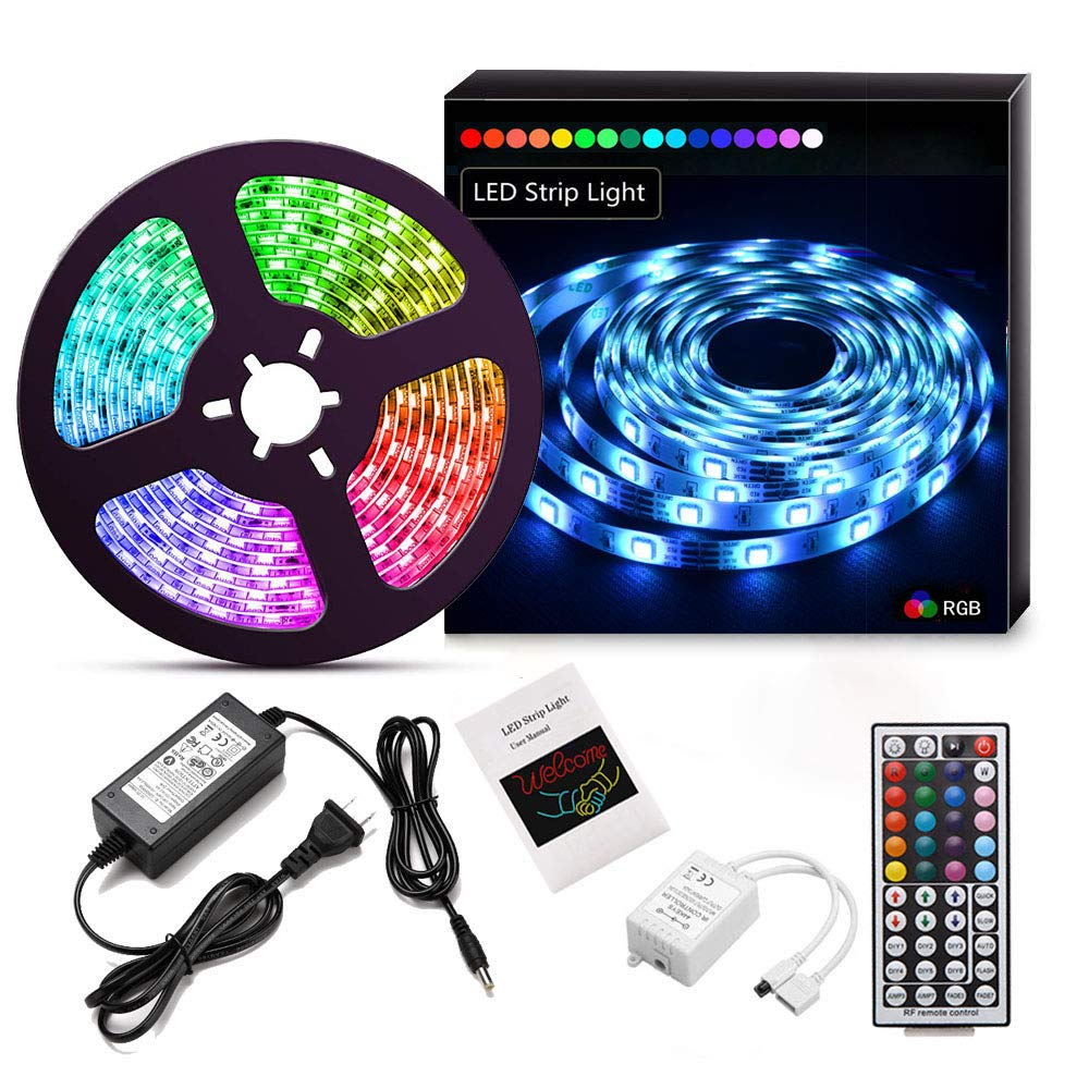 Suyoo LED Strip Lights 16.4ft/5m Flexible Color Changing Led Light Strip Kit 5050 RGB Rope Light with 44 Key IR Remote 12V2A Power Supply