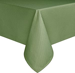 Eforcurtain 60 Width by 102 Length Home Fashion Rectangular Table Cover Water Resistant Fabric Waffle Weave Tablecloth, Green