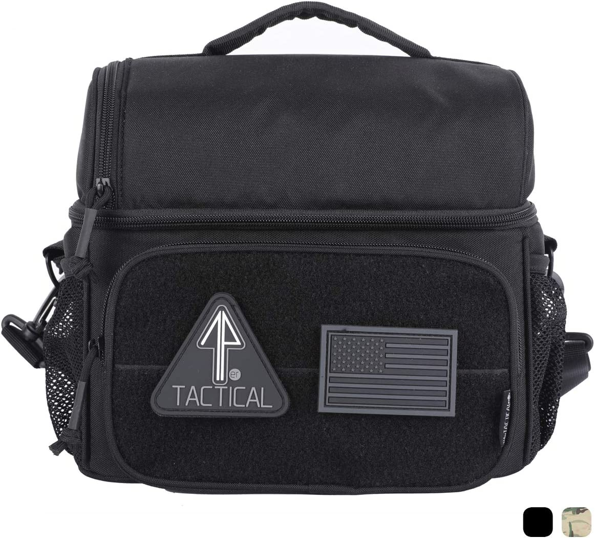 14er Tactical Lunch Bag | Dual Compartment Cooler, Lunch Box | 600D Ballistic Material & YKK Self-Healing Zippers | Flag Patch Panel & MOLLE Compatible PALS | Perfect EDC for Adults & Kids (Black)