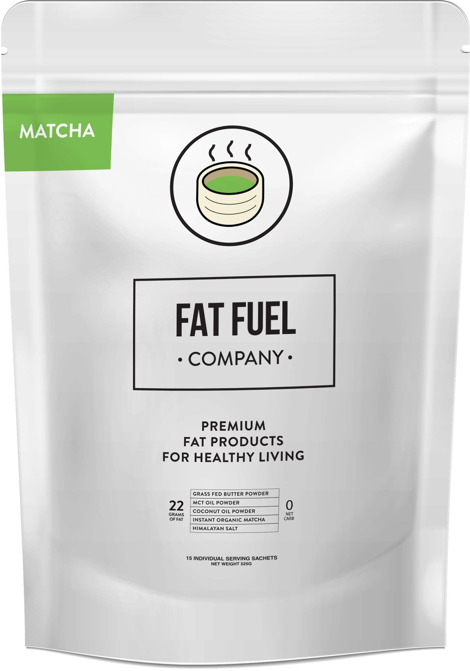 Fat Fuel Company Keto Matcha Green Tea Powder | MCT, Coconut Oil, Himalayan Salt & Grass-Fed Butter | Organic Ingredients | Energy, Focus , Detox | Perfect Drink For Low-Carb Diet | 15 Packets by The Fat Fuel Company