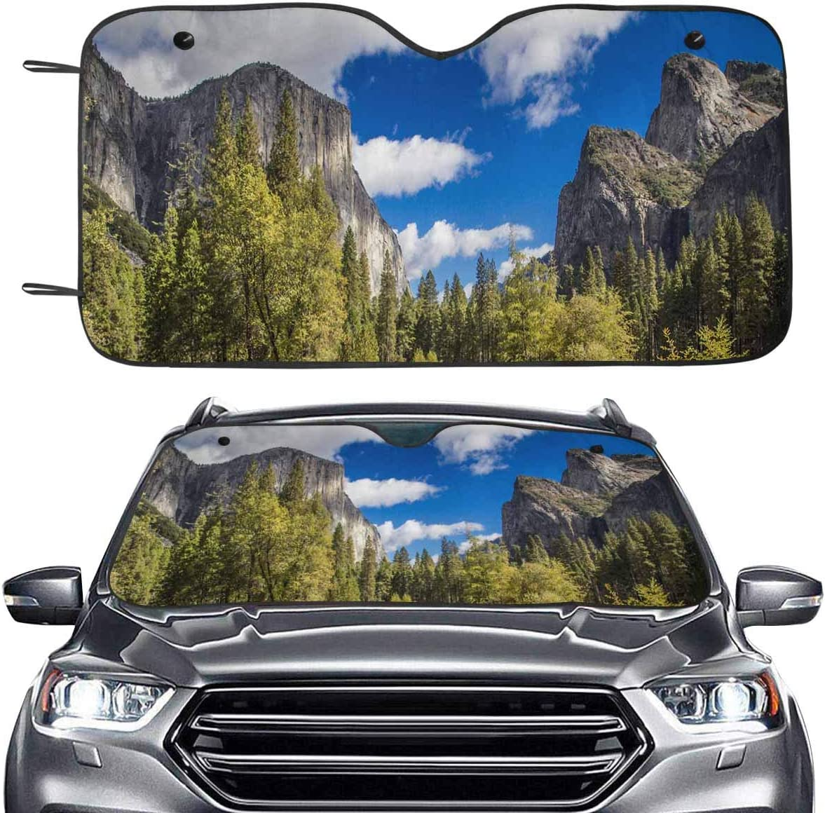 Yosemite Universal Car Windscreen Windshield Sun Shade Heat Reflective Windshield Visor Front Window UV Block