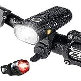自転車 ライト、USB 充電式 LED 自転車 ヘッドライト、800ルーメン、5点灯モード懐中電灯 - 夜間乗り/キャンプ/ウォーキングドッグに最適 - 黒
