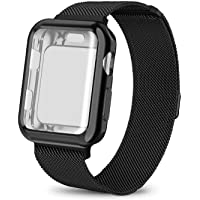 AdMaster Compatible Apple Watch Band 38mm 40mm 42mm 44mm, Stainless Steel Mesh Milanese Sport Wristband Loop with Apple Watch Screen Protector Compatible for iWatch Series 1/2/3/4