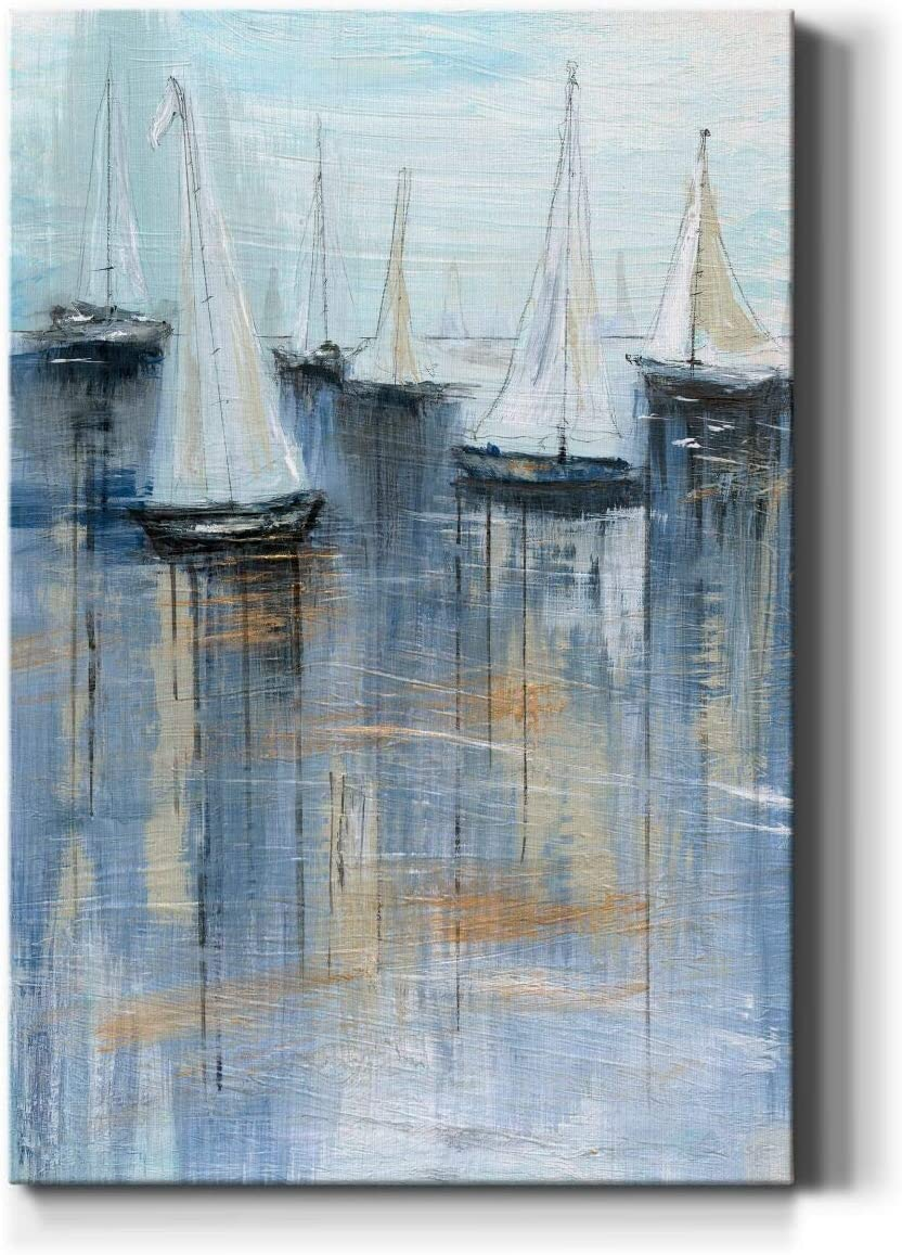 Renditions Gallery Sailboat Scratch Wall Art, Ocean & Boating Artwork, Portrait Decor, Colorful Nautical Decorations, Premium Gallery Wrapped Canvas, Ready to Hang, 18 in H x 27 in W, Made in America