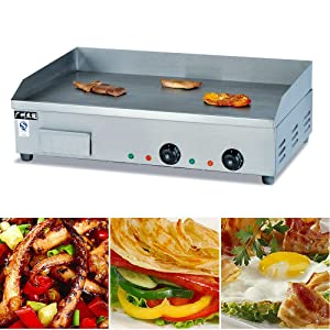 Electric Grill Griddle Nonstick Home Flat Restaurant Grill Cooktop BBQ Teppanyaki Hot Plate Commercial 4.4KW