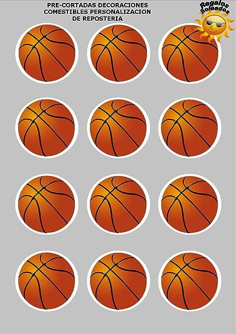 12 x Precortada Baloncesto Deporte Decoración Comestible ...