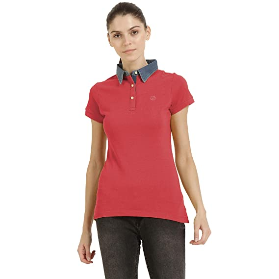 b794f601d71f CHKOKKO Women's Plain Cotton Half Sleeves Polo T Shirt (Peach, Sky Blue and  Blue