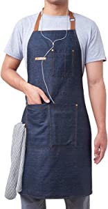 KPD 2 Pack Blue Unisex Adjustable Bib Denim Apron for Family Chef, Kitchen, BBQ and Studio,Cooking Apron for Kitchen and Home