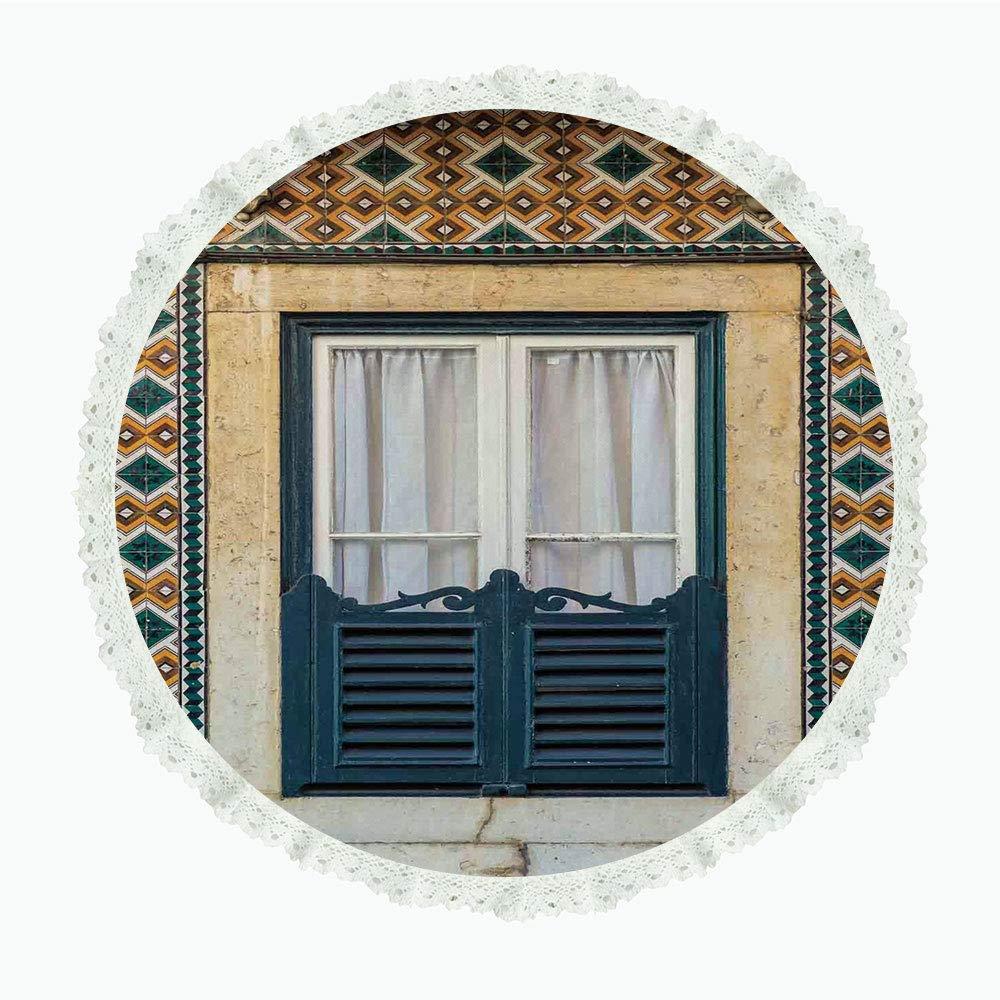 36インチ ラウンド ポリエステル リネン テーブルクロス シャッター リスボン ポルトガル 観光街 建築 ノスタルジック ティールオレンジ ディナーキッチン ホームデコレーション用 Round 90