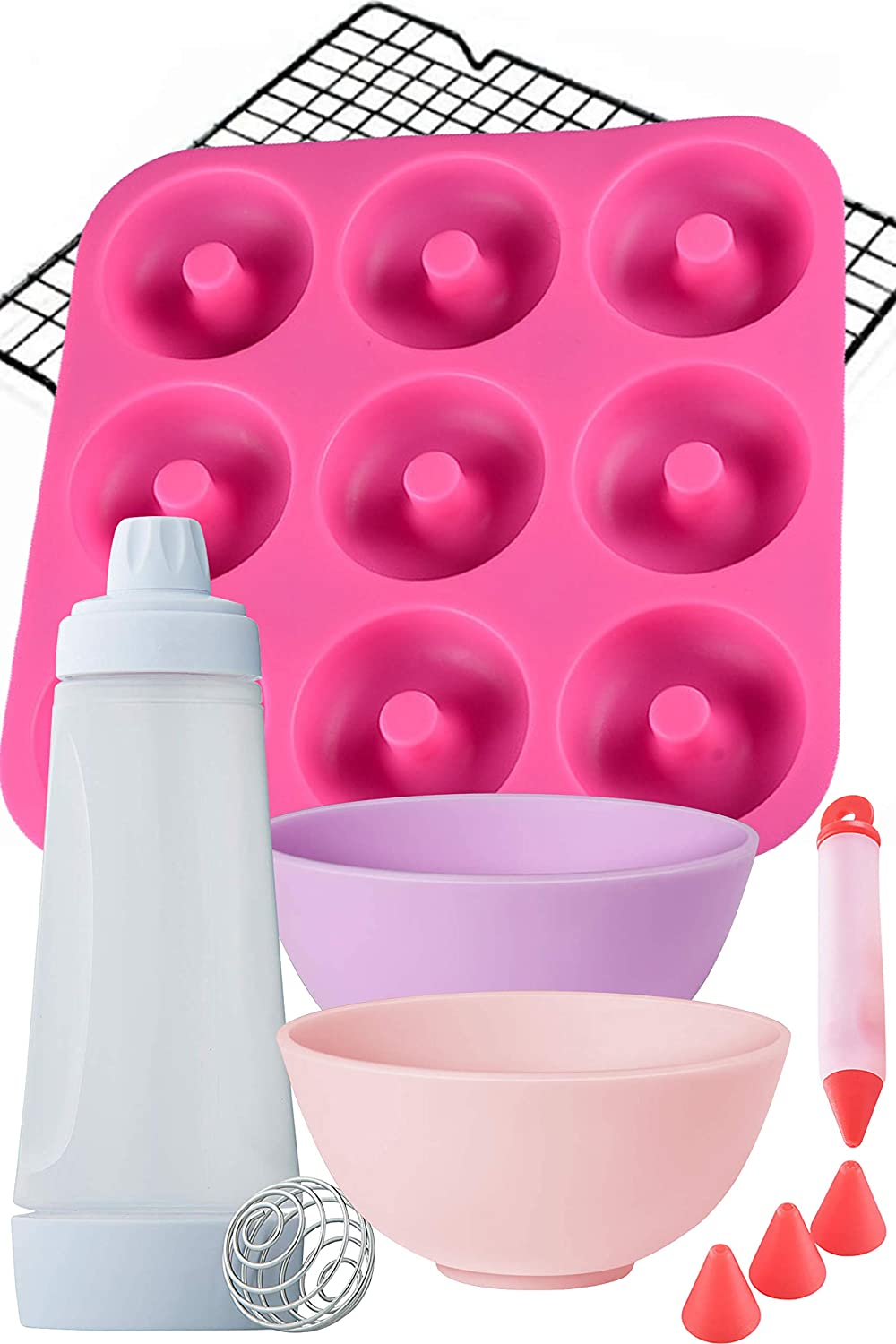 Dippin'Donutz Nonstick Silicone Donut Pan - Deluxe Baking and Decorating Supplies Bundle. Including Doughnut Maker Molds, Mixing Bottle, Cooling Rack, Dipping Bowls And Icing Decorarting Pen