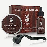 Derma Roller - Kit de crecimiento de barba para barba, rodillo de derma + aceite de suero para el crecimiento de la…