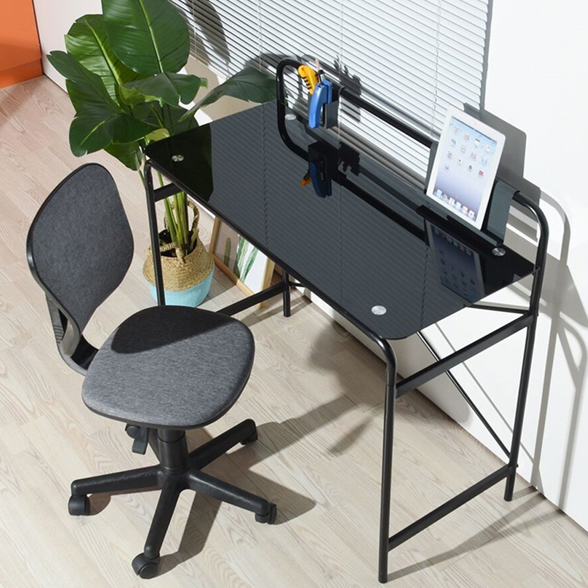 Office Glass Computer Desk Study Laptop Desk Study Glass Surface with Metal Frame Workstation for Home Office Bedroom Students Table - Black
