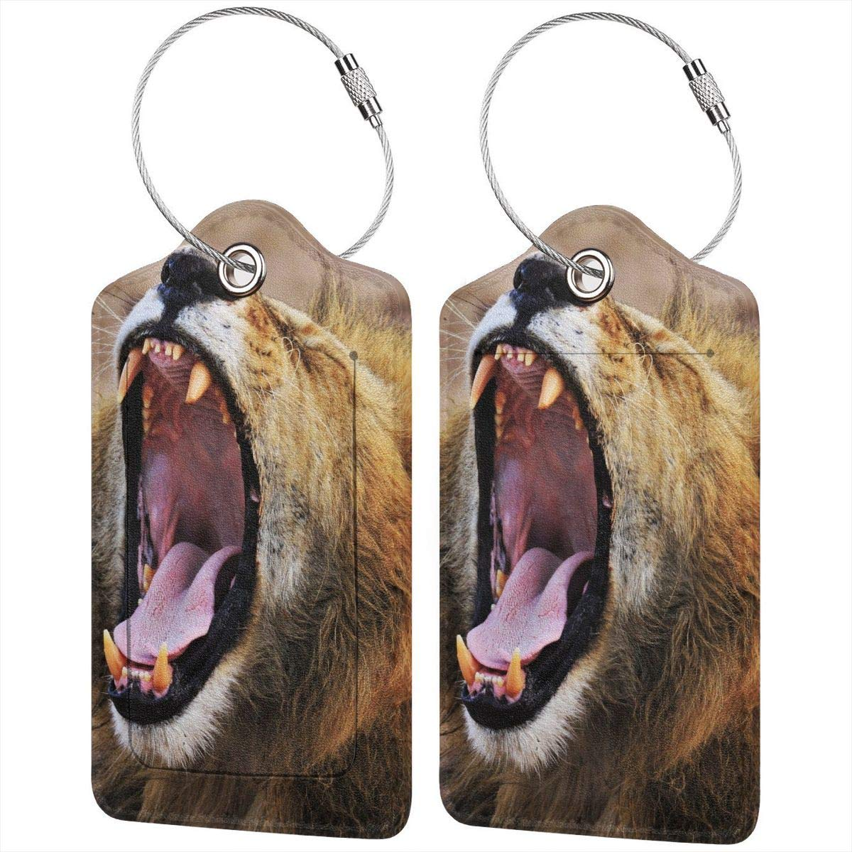 Wild Animals Roaring Lion African Steppe Luggage Tag Label Travel Bag Label With Privacy Cover Luggage Tag Leather Personalized Suitcase Tag Travel Accessories